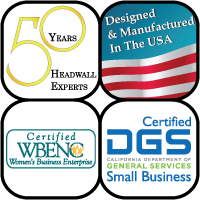 Logo 4 squares, 50 years In Business, Made in USA, Woman Owned, Certified California Small Business